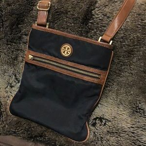 Tory Burch Bags - Tory Burch Black Nylon & Tan Leather Crossbody